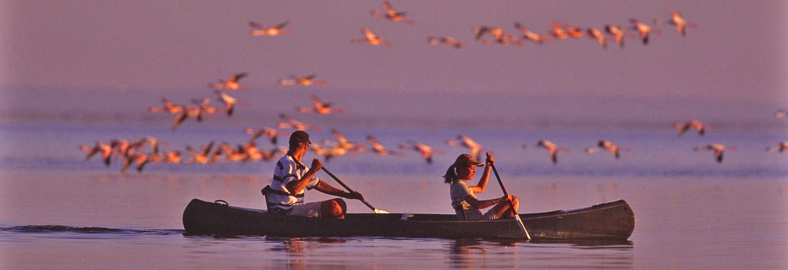 Canoeing on Lake Manyara